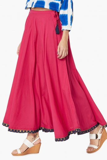 MAX Solid Maxi Skirt with Tasselled Tie-Up