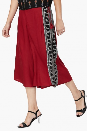 MAX Side Printed Flared Culottes