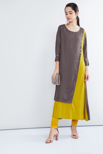 MAX Three-Quarter Sleeve Overlapped Kurta