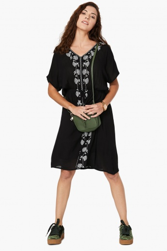 MAX Embroidered Cinched Waist Dress