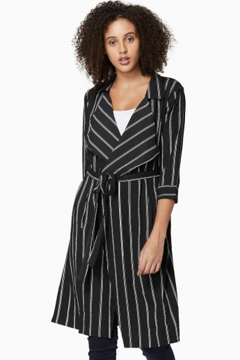 MAX Striped Notched Lapel Three-Quarter Sleeves Shrug