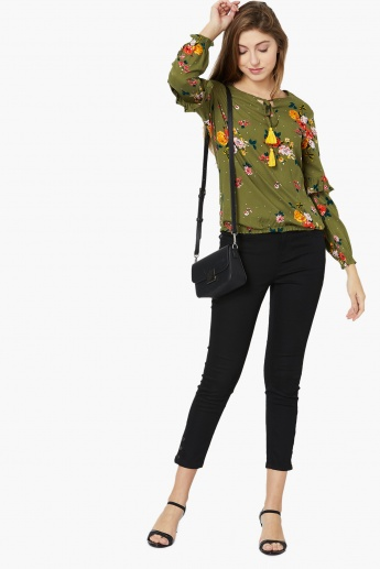 MAX Printed Ruffle Long-Sleeved Tie-Up Top