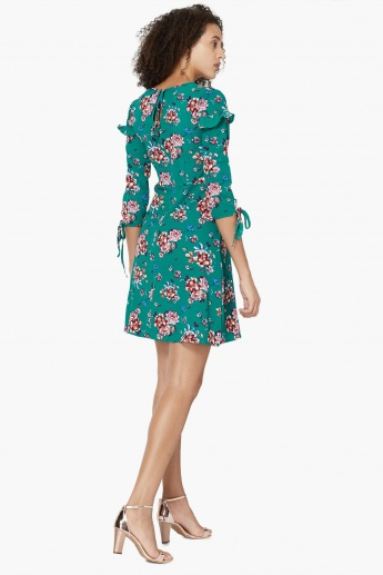 MAX Floral Print Three-Quarter Tie-Up Sleeves Dress