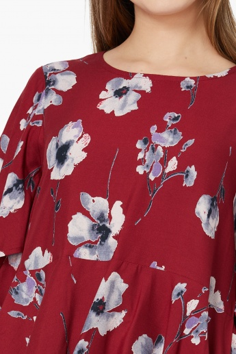 MAX Printed Butterfly-Sleeved Flared Top