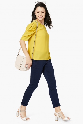 MAX Solid Gathered Puff-Sleeve Blouse