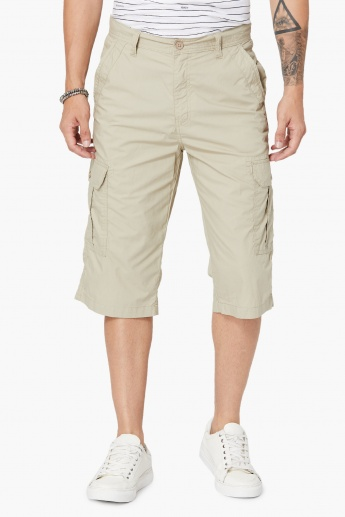 MAX Solid Cotton Cargo Shorts