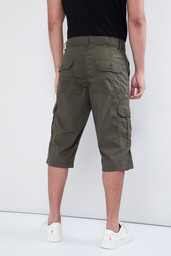 MAX Solid Three-Quarter Cargo Shorts