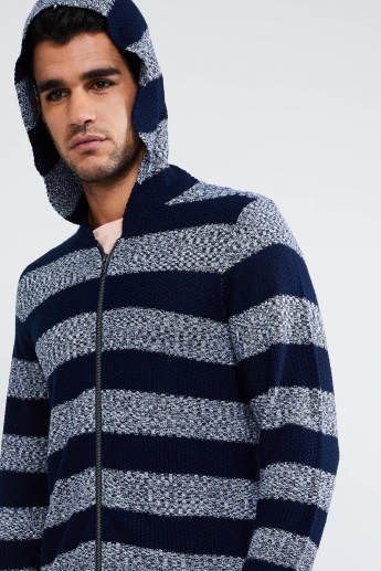 MAX Striped Zip-Up Hooded Sweater