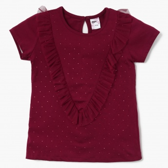 MAX Embellished T-shirt with Net Panels