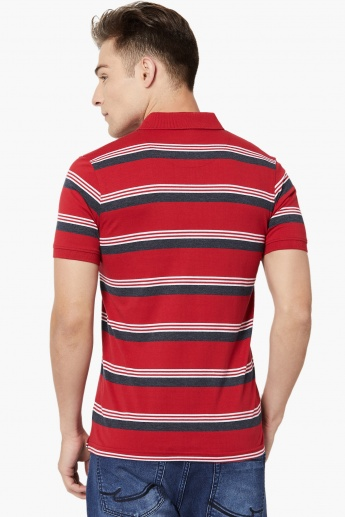 MAX Variegated Stripe Pique Knit Polo T-shirt