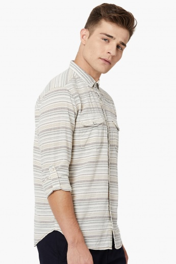 MAX Roll-Up Tabs Striped Casual Shirt