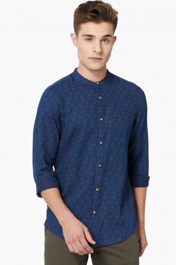 MAX Patterned Band Collar Shirt