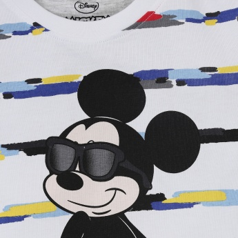 MAX Mickey Mouse Print Striped T-shirt