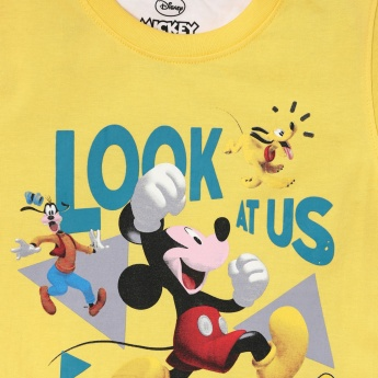 MAX Mickey Mouse Print Crew Neck T-shirt