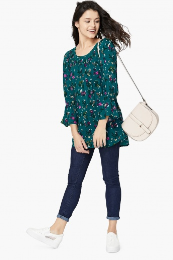 MAX Floral Print Bell Sleeve Long Tunic