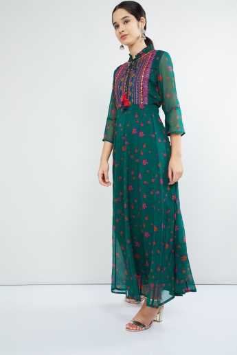 MAX Embroidered Yoke Floral Print Long Kurta