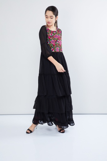 MAX Floral Embroidered Tiered Maxi Dress