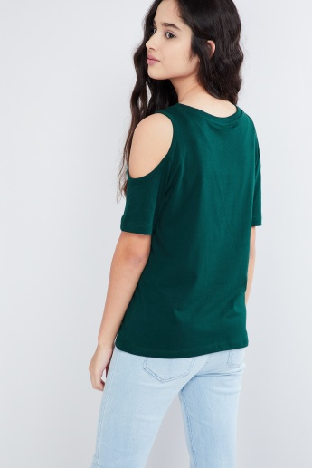 MAX Star Gazer Studded Cold-Shoulder Sleeve Top