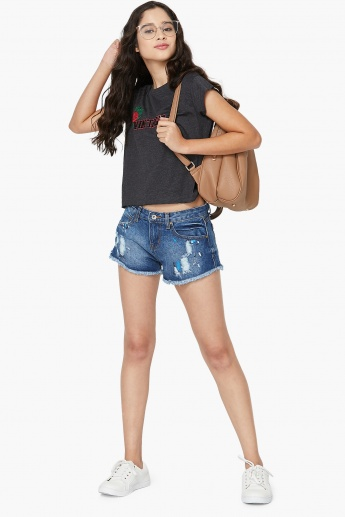 MAX Fringed Denim Shorts