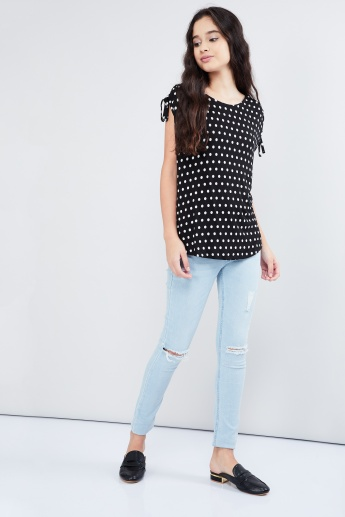 MAX Polka Dot Print Tie-Up Sleeve Top