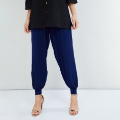 MAX Solid Gathered Cuffed Hem Pants