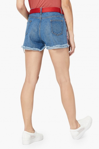 MAX Mid-Wash Distressed Tape Detail Shorts