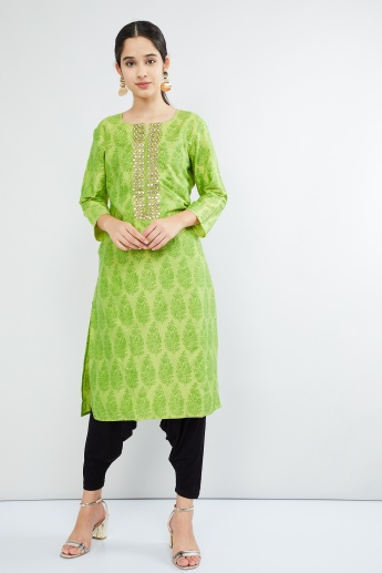 MAX Embroidered Trim Printed Kurta With Pockets