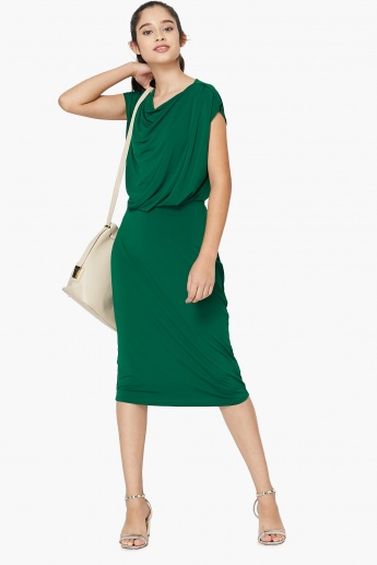 MAX Solid Cowl Neck Midi Dress