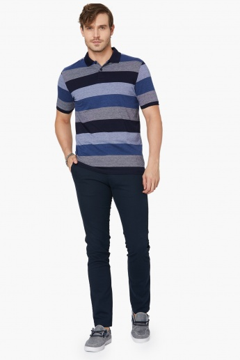 MAX Striped Colour Blocked Polo Neck T-Shirt