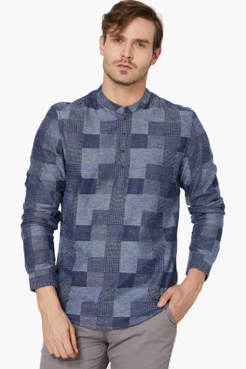 MAX Checkered Band Collar Casual Shirt