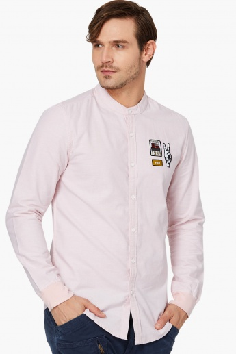 MAX Patchworked Band Collar Shirt