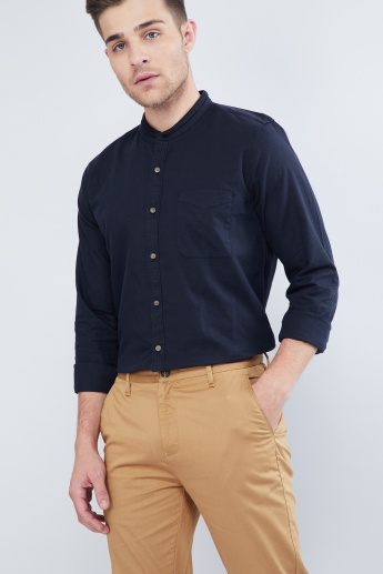MAX Solid Contrast Cuff Band Collar Shirt