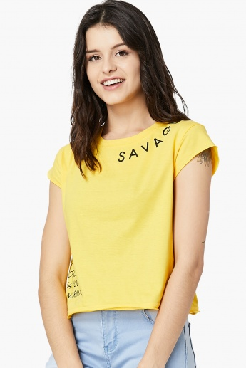 MAX Savage Graphic Print Boxy Top