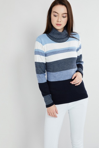 MAX Colour-Blocked Turtle Neck Top