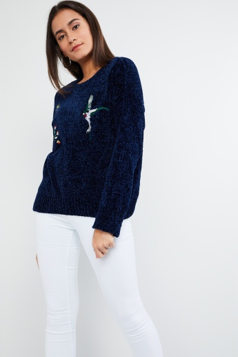 MAX Floral Embroidery Patterned Knit Sweater