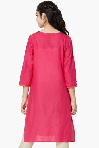 MAX Embroidered Yoke Three-Quarter Sleeve Kurta