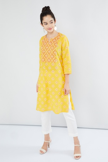 MAX Printed Notched Round Neck Kurta
