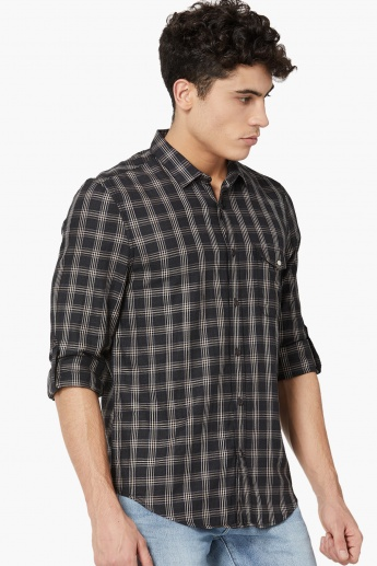 MAX Roll-Up Tabs Checked Casual Shirt