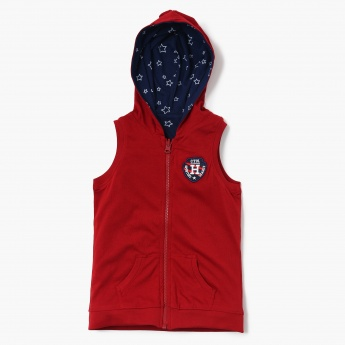 MAX Sleeveless Reversible Hoodie With Applique
