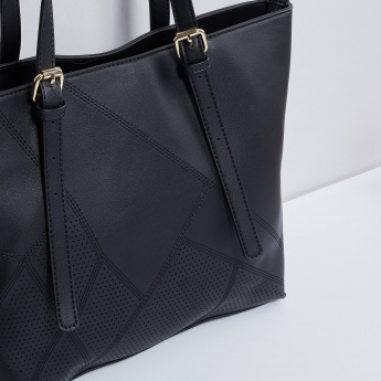 MAX Perforated Detail Zip Closure Tote Bag
