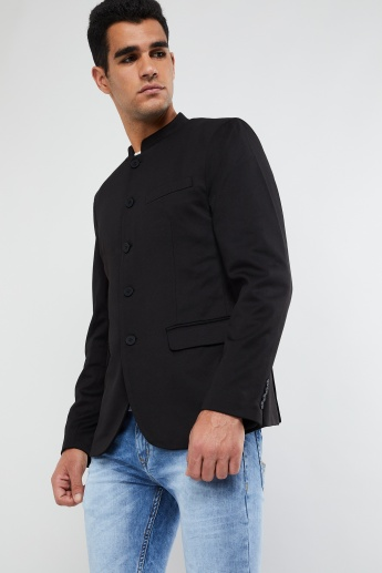 MAX Mandarin Collar Single Breasted Blazer
