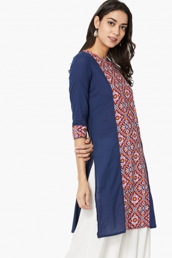 MAX Block Print Panel Straight Kurta
