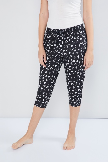 MAX Heart-Cross Print Lounge Capris