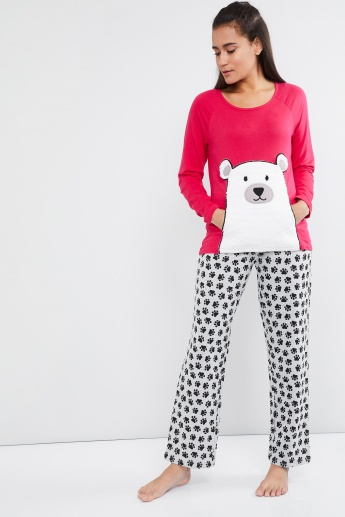 MAX Panda Applique Lounge T-shirt & Pyjamas Set