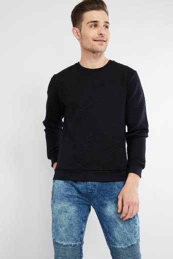 MAX Patterned Knit Solid Sweater