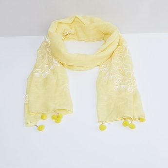 MAX Embroidered Pom Pom Scarf