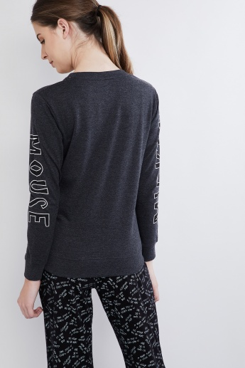 MAX Mickey Print Long Sleeve Sweatshirt