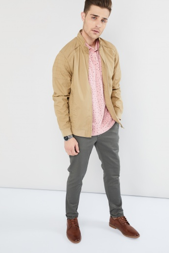 MAX Solid Band Collar Zip-Up Jacket