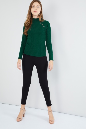 MAX Raglan Sleeves High-Neck Top with Metal Accents