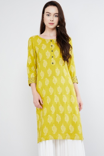 MAX Button Placket Paisley Print Straight Kurta